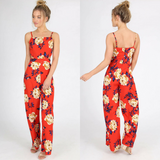 Amanda Floral Cut Out Waist Jumpsuit