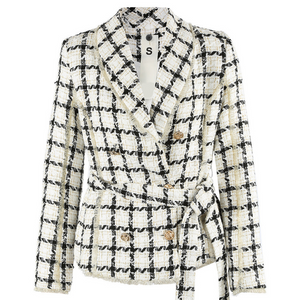 Cher Tweed Balmain Inspired Double Breast Blazer - White