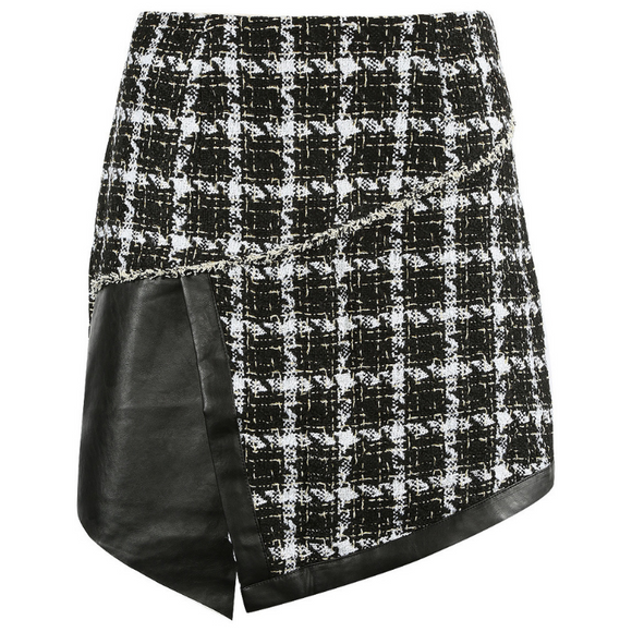 Cher Tweed PU Overlap Designer Inspired Mini Skirt - Black