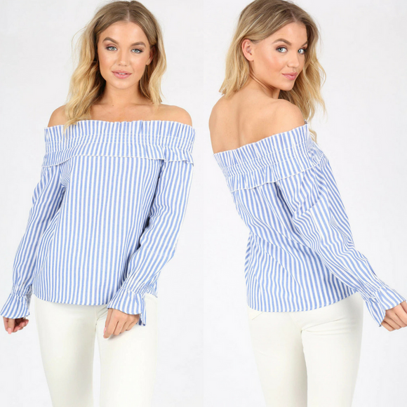 Beth Blue Stripe Cotton Shirred Bardot Top