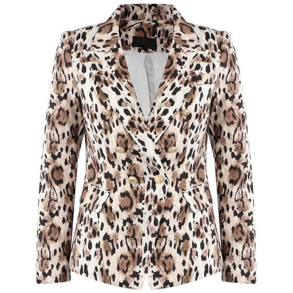 Harley Balmain Inspired Double Breasted Blazer - Leopard Print