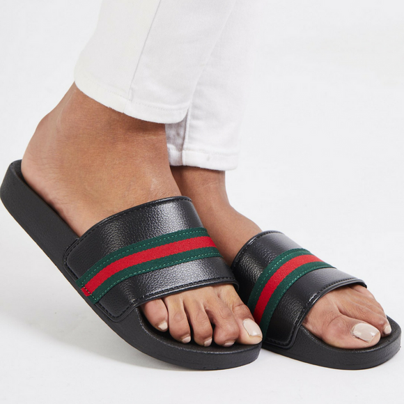 Erika Gucci Inspired Sliders - Black