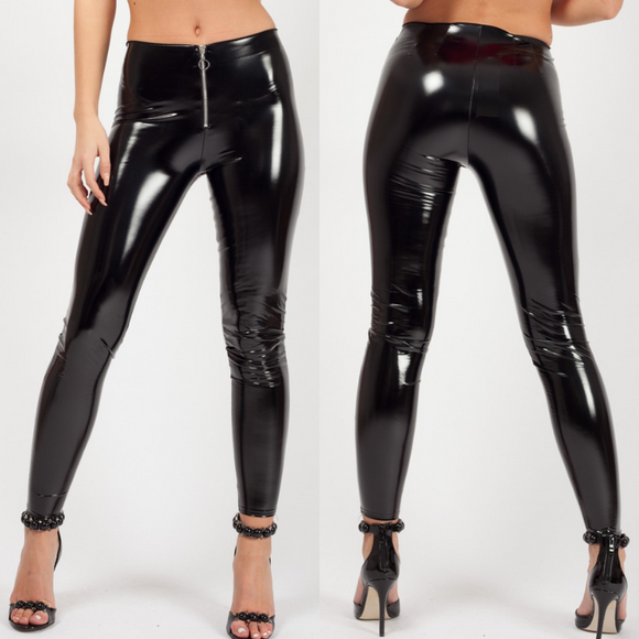 Callia Zip Front Vinyl PU Leggings - Black