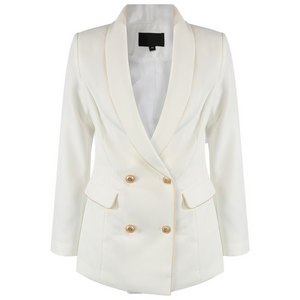 Silvia Double Breasted Balmain Inspired Blazer - White