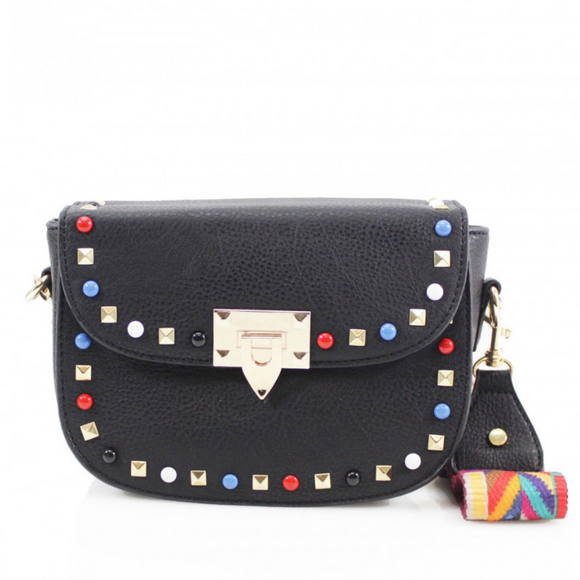 Valerie Studded Valentino Inspired Bag - Black