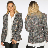 Maxine Tweed Balmain Inspired Blazer - Black / Multi