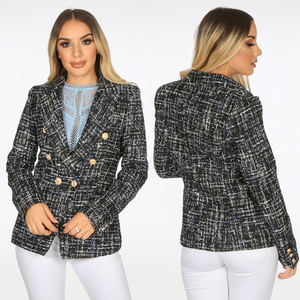 Maxine Tweed Balmain Inspired Blazer - Black / Navy