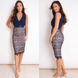 Kaelyn Pleated Plunge Lace Midi Dress - Navy