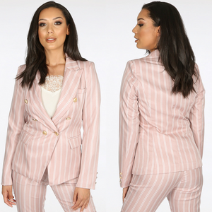 Molly Striped Balmain Inspired Blazer - Rose