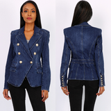 Mallory Dark Wash Denim Balmain Inspired Blazer