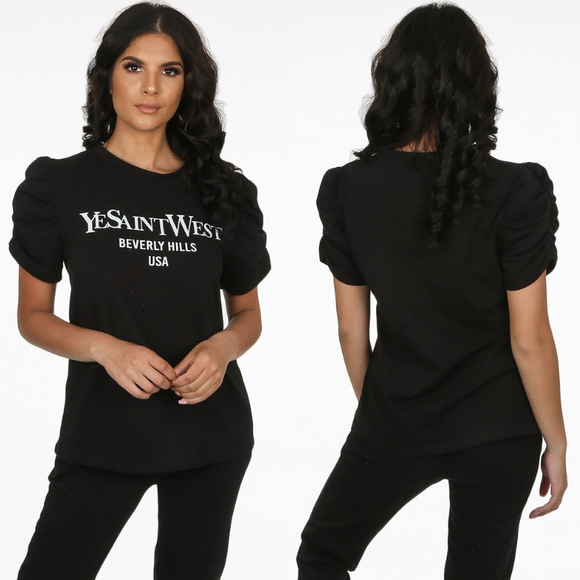 'YeSaintWest' Slogan YSL Inspired Loungewear Set - Black
