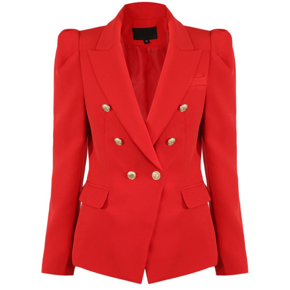 Amelia Puffed Sleeve Balmain Inspired Blazer - Red