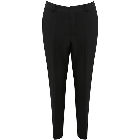 Anna Tailored Split Hem Designer Inspired Trousers - Black