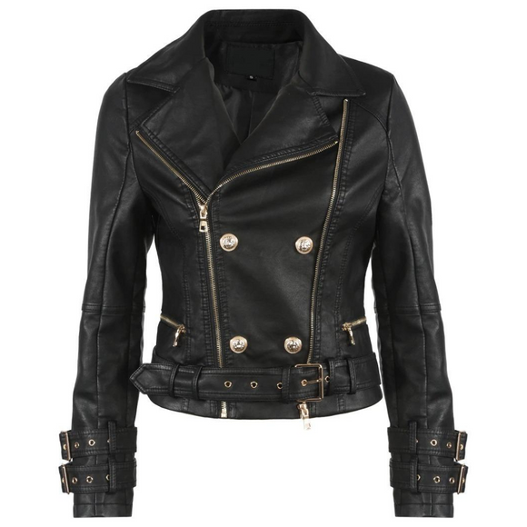 Helena PU Faux Leather Balmain Inspired Biker Jacket