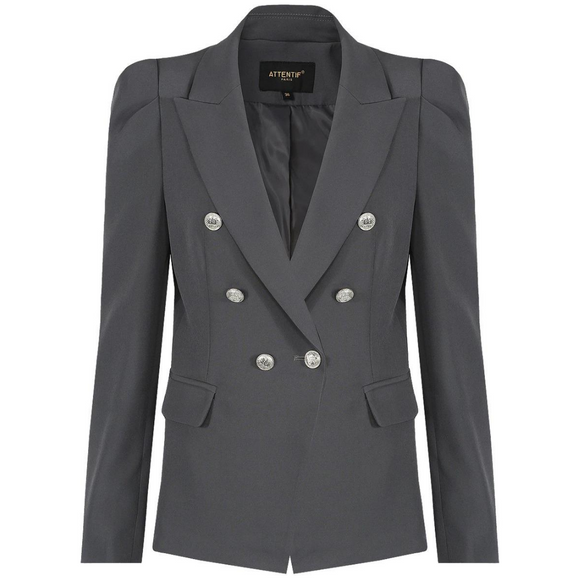 Amelia Puffed Sleeve Balmain Inspired Blazer - Dark Grey