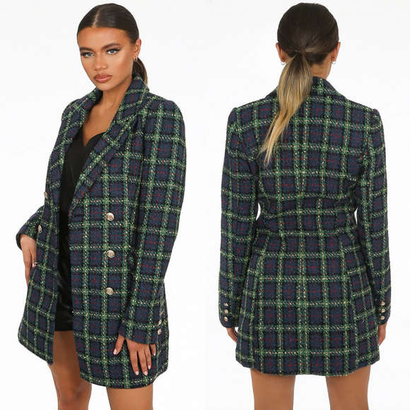 Diana Plaid Balmain Inspired Coat - Green