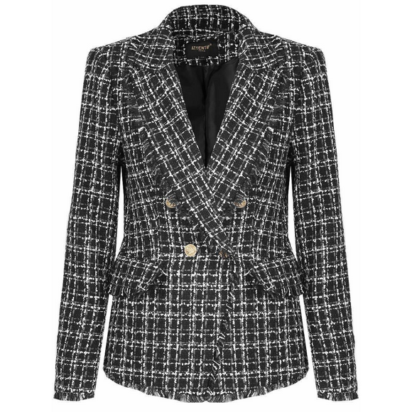 Carina Knit Thread Balmain Inspired Blazer - Black