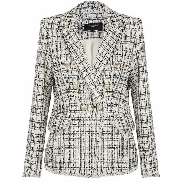 Carina Knit Thread Balmain Inspired Blazer - Beige