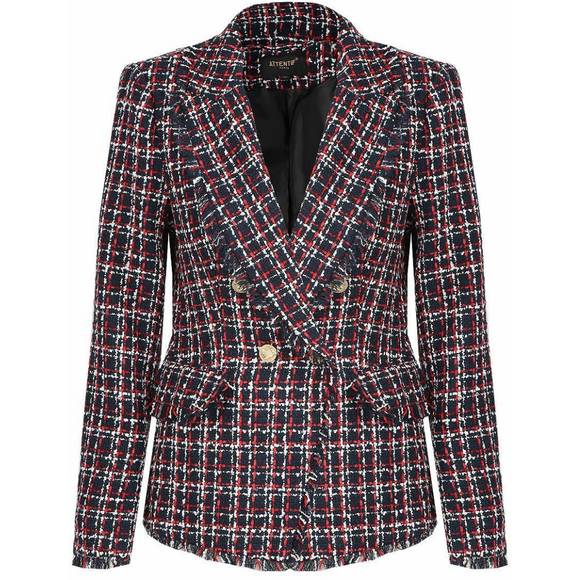 Carina Knit Thread Balmain Inspired Blazer - Navy