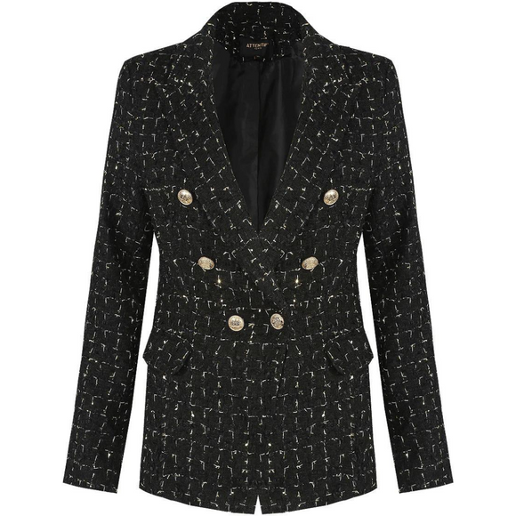 Lydia Textured Knit Thread Balmain Inspired Blazer - Black Mix close up detail