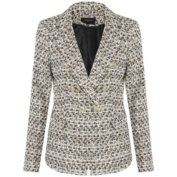 Lydia Textured Knit Thread Balmain Inspired Blazer - Camel Mix