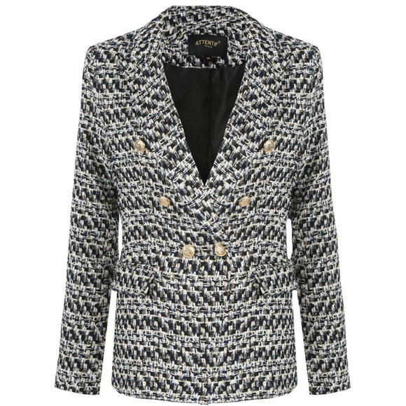 Lydia Textured Knit Thread Balmain Inspired Blazer - White Mix