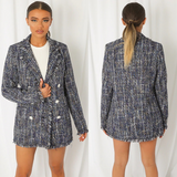 Verity Boucle Designer Inspired Jacket - Navy Mix