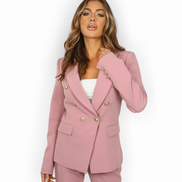 Alexandra Balmain Inspired Tailored Blazer - Rose
