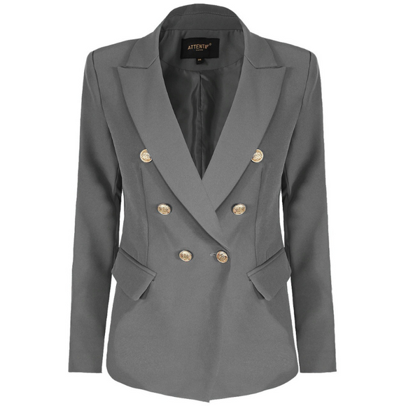 Alexandra Balmain Inspired Tailored Blazer - Grey