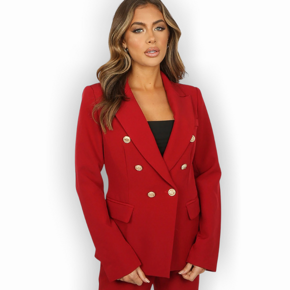 Alexandra Balmain Inspired Tailored Blazer - Wine Red