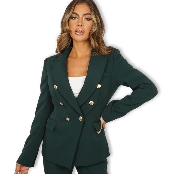 Alexandra Balmain Inspired Tailored Blazer - Teal Green