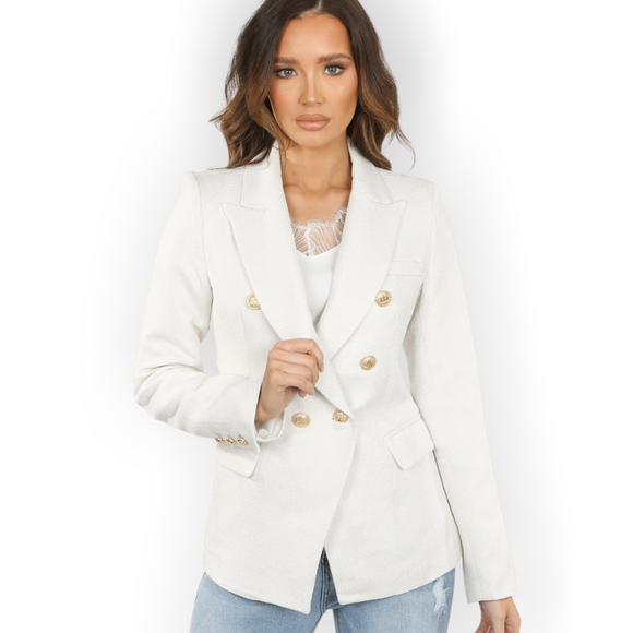 Georgia Knitted Hopsack Balmain Inspired Tailored Blazer - White