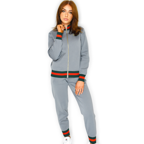 Sophie Striped Designer Inspired Loungewear Set - Grey
