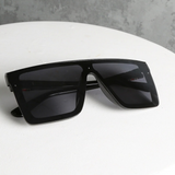 Cali Striped Designer Inspired Sunglasses - Black front view