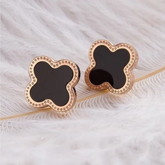 Danielle Clover Designer Inspired Stud Earrings - Rose Gold