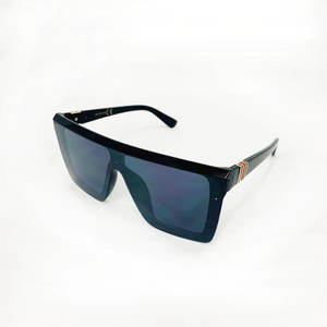 Cali Striped Designer Inspired Sunglasses - Black