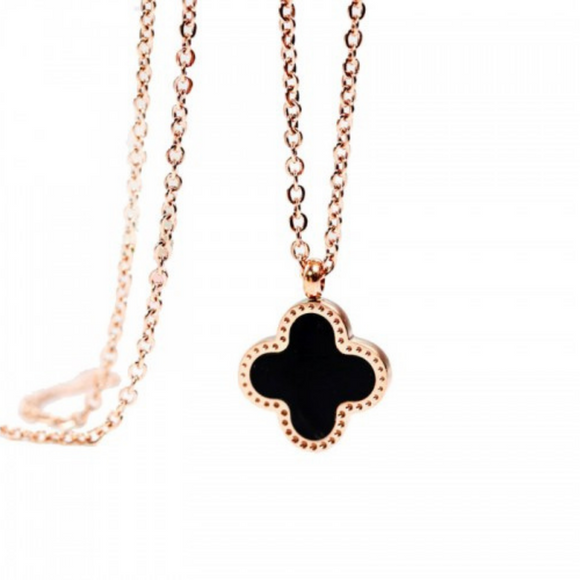 Devon Clover Designer Inspired Necklace - Rose Gold