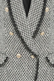 Zara Fringed Tweed Balmain Inspired Blazer close up of button and material detail