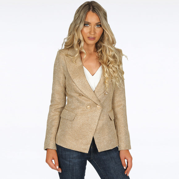 Georgia Knitted Hopsack Balmain Inspired Tailored Blazer - Beige