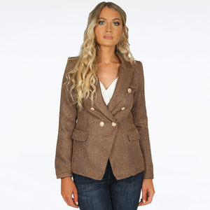 Georgia Knitted Hopsack Balmain Inspired Tailored Blazer - Camel Brown