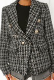 Carina Knit Thread Balmain Inspired Blazer - Black close up view worn
