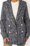 Verity Boucle Designer Inspired Jacket - Navy Mix close up detailed view