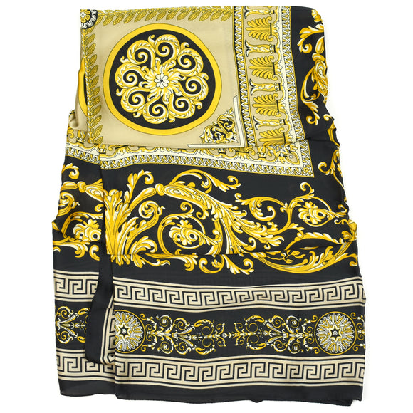 Avie Versace Inspired Silk Scarf - Black