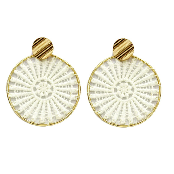 Deja Designer Inspired Woven Circle Earrings - Gold / White