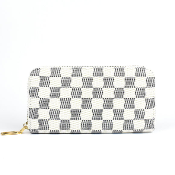Yana Designer Inspired Purse - White Check