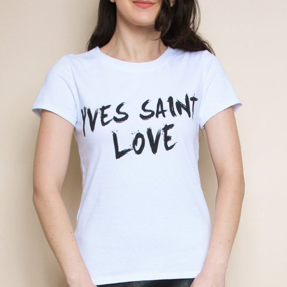 Yves Saint Love Slogan Designer Inspired Tshirt - White