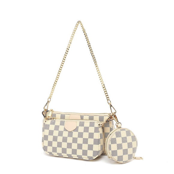 Eloise Multi Pochette Designer Inspired Bag - Beige Check