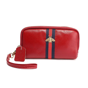 Piper Real Leather Gucci Inspired Purse / Wristlet - Red