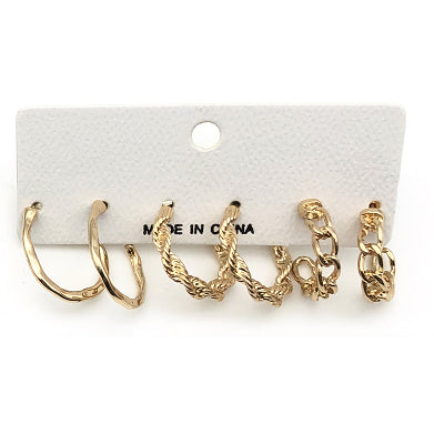 Pricila Designer Inspired Hoop Earrings 3 Pack - Gold
