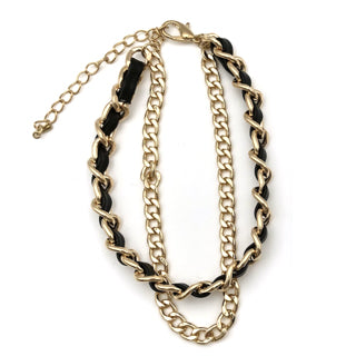 Kia Designer Inspired Double Chain Bracelet - Black / Gold